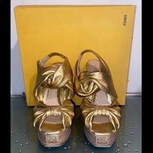FENDI Gold Logo Platform Leather Heels Size 38